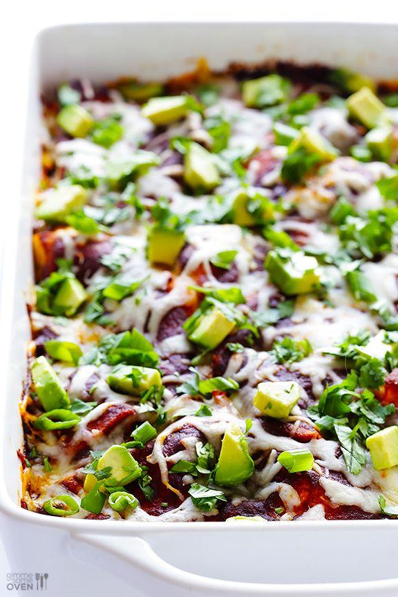 "Gimme Some Oven   Chicken Enchilada Casserole (""Stacked"" Chicken Enchiladas)   http://www.gimmesomeoven.com"