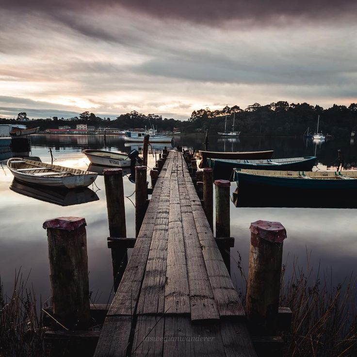 Stumbled across this nice old jetty, lined with little 'punts' crafted from beautiful Tasmanian Huon Pine timber, reflecting years of character. Starhan on Tasmania's West Coast from a different angle. Image credit: Zach @taswegianwanderer #tasmania #strahan
