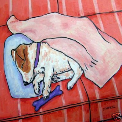 JACK RUSSELL terrier SLEEPING ON COUCH dog art tile   eBay