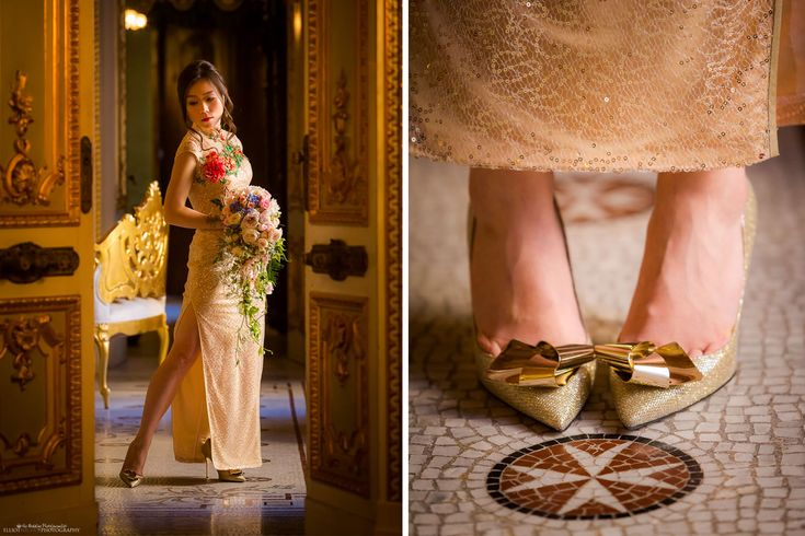 Bride in her Chinese wedding dress and shoes