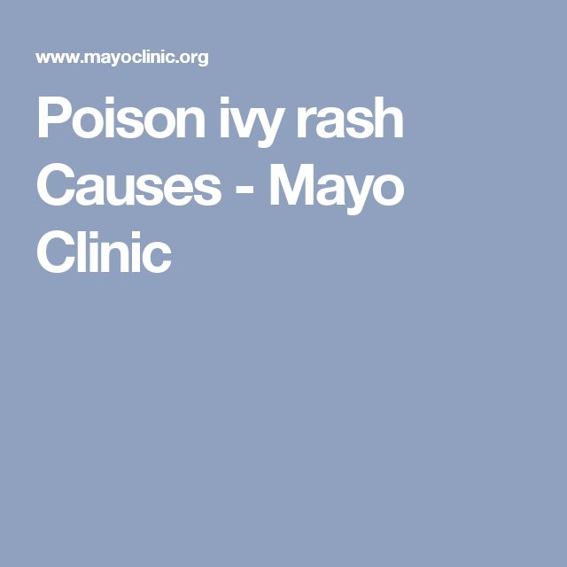 Poison ivy rash Causes - Mayo Clinic