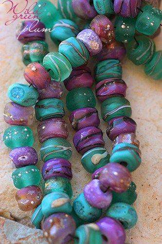 Wild Green Plum Seeds (50) handmade glass lampwork beads