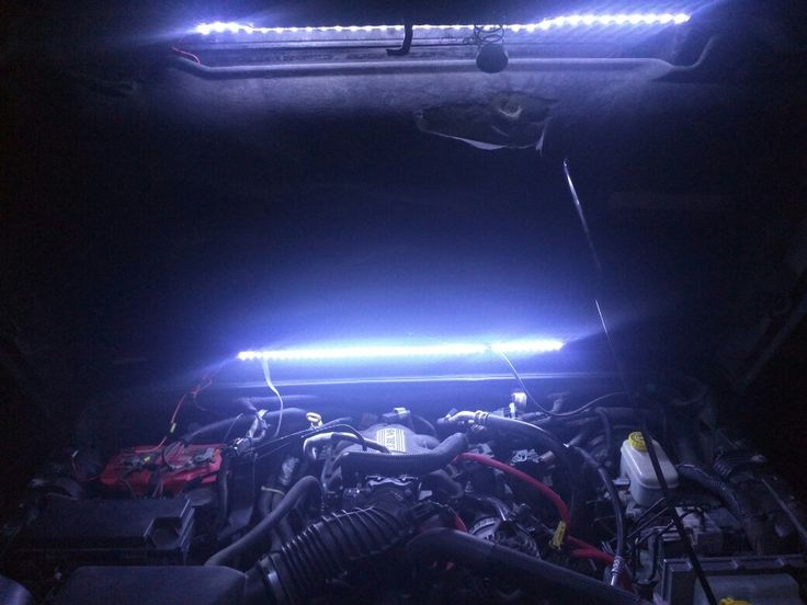 Under hood DIY task lighting.  Waterproof LED strips glued with epoxy and ran to a weatherproof switch.  @squadronnine www.squadronnine.com