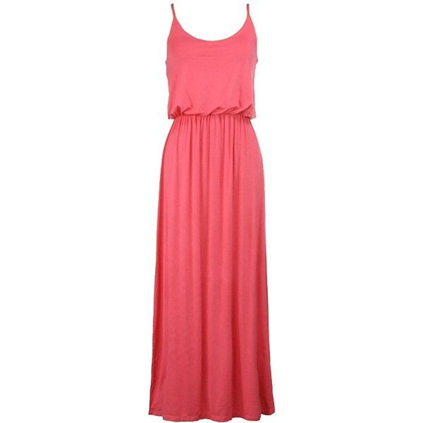 Elastic Waist Solid Maxi Tank Dress in Coral ($40) ❤ liked on Polyvore featuring dresses, tank top dress, coral red dress, beach dresses, maxi dresses and tank dresses