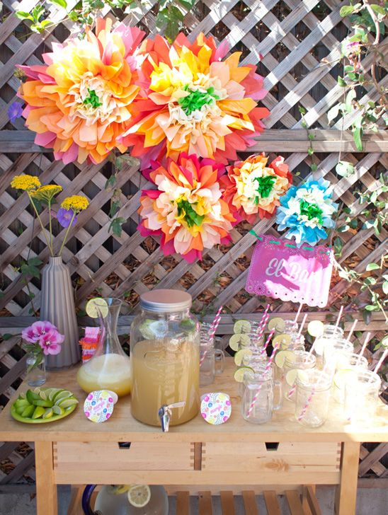 margarita bar at a fiesta themed baby shower