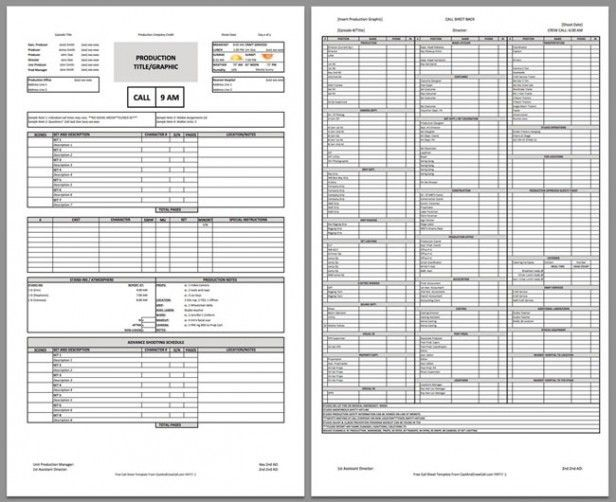 Download a free call sheet template to get your crew on the same - call sheet template word