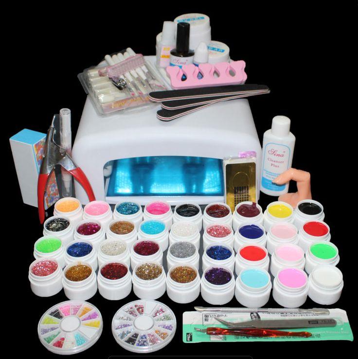 New Pro 36W UV GEL White Lamp & 36 Color UV Gel Nail Art Tools Sets Kits ST-111 Hot sale UV lamp 36 Tues 36W