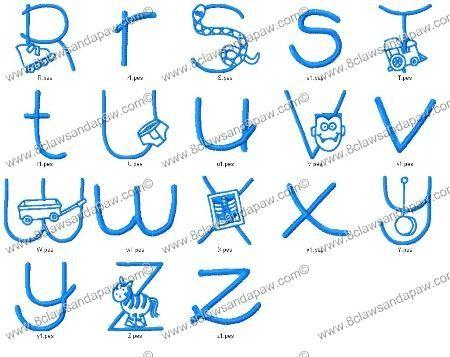 Boys Font Alphabet Embroidery Design
