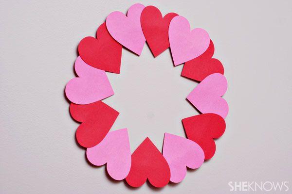 Valentine's Day crafts for kids: Paper heart wreath