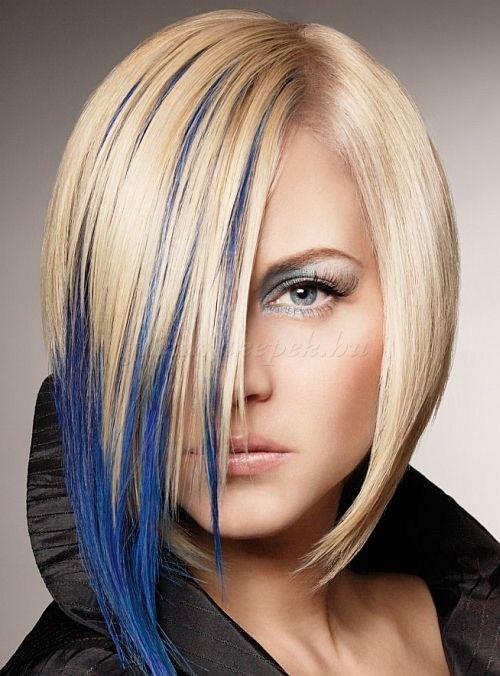 női+frizurák+félhosszú+hajból+-+szőke+bubifrizura+kék+hajtincsekkel
