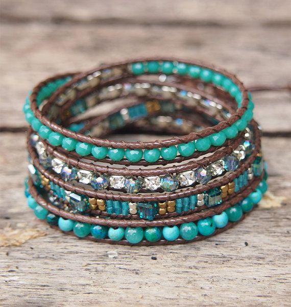 Turquoise howliet kristal kralen mix wrap armband door G2Fdesign