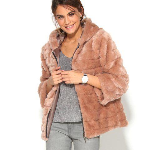 Manteau fourrure manches longues et capuche femme - 3Suisses