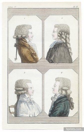 Cabinet des modes 1785-1786 — 1785 Cabinet des Modes 15 Décembre 3° cahier, planche II, 4 bustes d'Hommes en perruque, hairstyle, wigs