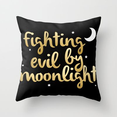 Fighting Evil By Moonlight - Sailor Moon Throw Pillow by Katie Gariepy - $20.00