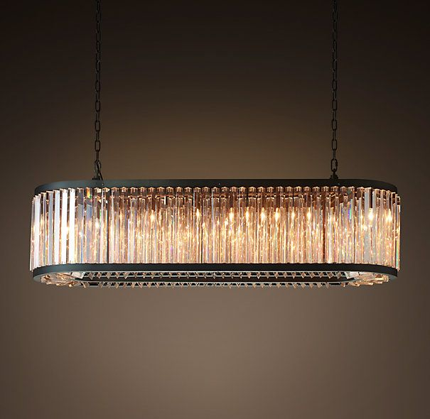 """Welles Clear Crystal 60"""" Rectangular Chandelier - Grey Iron (actually more grey than black)"""
