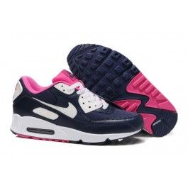 Womens Nike UK - Air Max 90 Essential Midnight Navy White-Pink