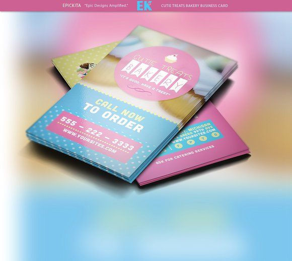 Cutie Treats Bakery Business Card Templates The Cutie Treats Bakery Business Card Template is perfect if you want to give off a colorful cutesy by Epickita