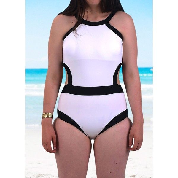Rotita Black And White High Neck Cutout Waist One Piece Swimsuit (£16) ❤ liked on Polyvore featuring swimwear, one-piece swimsuits, white, monokini swimsuits, high neck one piece swimsuit, padded one piece swimsuit, high-neck one-piece bathing suits and black and white swimsuit