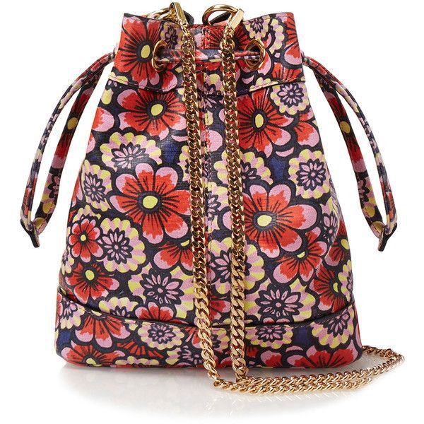 House Of Holland Wallpaper Red Flower Mini Leather Bucket Bag