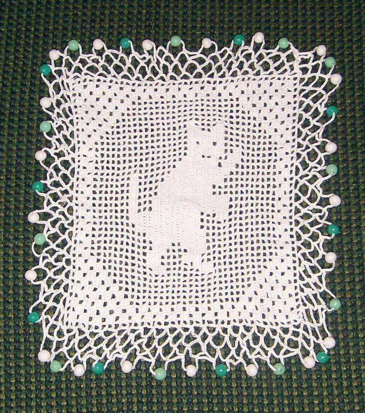VINTAGE/ANTIQUE BEADED CROCHET CAT MILK JUG COVER - GREEN & WHITE GLASS