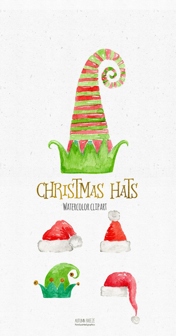 Christmas Hat Clipart Watercolor Santa Hat Holiday Clipart