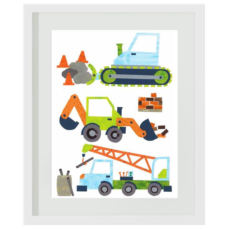 Doze Dig Deliver Art print for boys. #nurserydecor #constructionprint #diggers