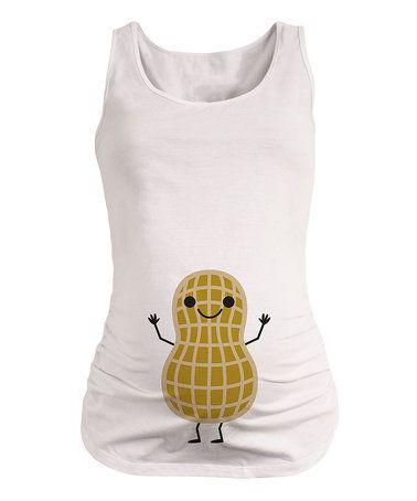 Look at this #zulilyfind! White Peanut Belly Maternity Tank #zulilyfinds