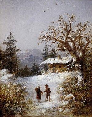 Teodor Boemm (1822-1889) Zimná krajina s figurálnou stafážou