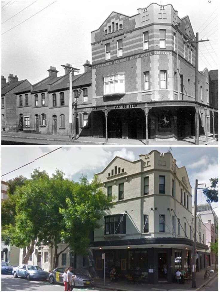 Cochrane's Belmore Park Hotel, Reservoir Rd, Surry Hills 1921>2014 Now The Reservoir restaurant/cafe (1921: City of Sydney Archives, 2014: Google Street View. By Curt Flood)