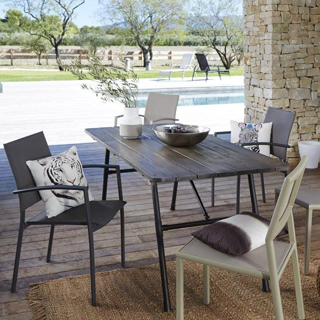 table de jardin pliante bois et m tal sohan lieux belle. Black Bedroom Furniture Sets. Home Design Ideas