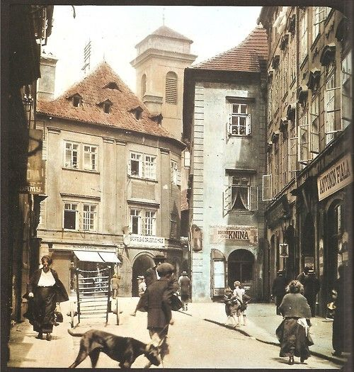 Prague, Old Town on colored photos from beginning of 20th...