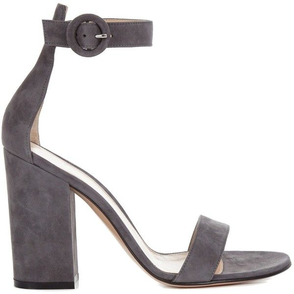 Gianvito Rossi Versilia suede sandals (3.040 RON) ❤ liked on Polyvore featuring shoes, sandals, heels, grey, grey shoes, grey heel shoes, block heel sandals, grey sandals and gray shoes