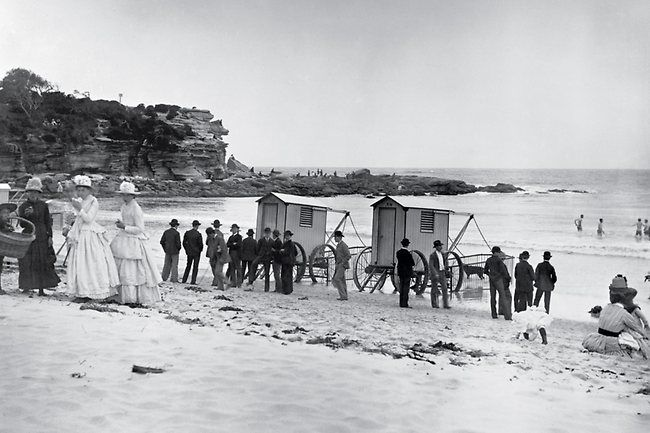 Coogee Beach. Mixed-sex bathing was not allowed on New South Wales beaches until about 1910. Before then women were forced to negotiate port...