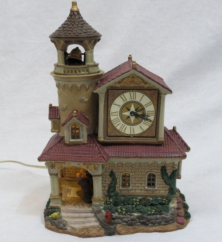 Lemax Village Collection Porcelain Lighted House Monks Chiming Bell  #Lemax