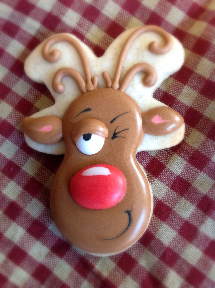 Drunken reindeer cookie Christmas cookies decorated