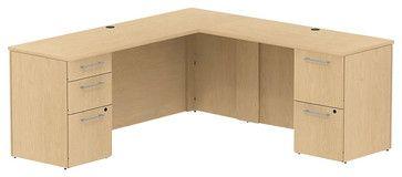 """Bush 300 Series 72"""" L-Shape 2-Pedestal Desk Set in Natural Maple transitional-desks"""