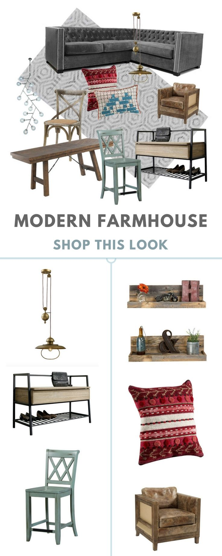 What is the Modern Farmhouse Look?Marked by its tactful combination of rustic pieces and sleek accents, the modern farmhouse look is an incredibly warm, welcoming aesthetic. It is an indicator of tailored, designer taste, but it is also lived-in. It's not stuffy or off-putting, as overly-embellished or overly-edited rooms can sometimes be.