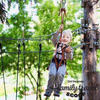 boy ziplining in Canada
