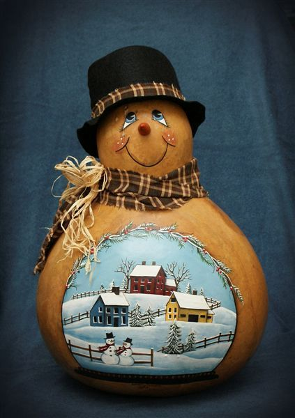 Snowman gourds on pinterest gourds hand painted gourds and snowman
