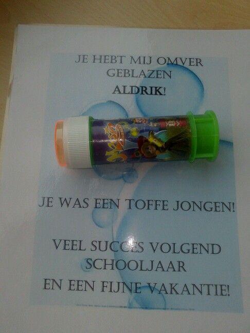 Einde schooljaar cadeau voor de kindjes van mijn klas