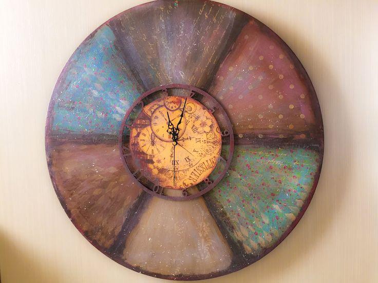 Decoupage Tutorial  Clock with Rust Effect - Ντεκουπάζ Ρολόι με Εφέ Σκου...
