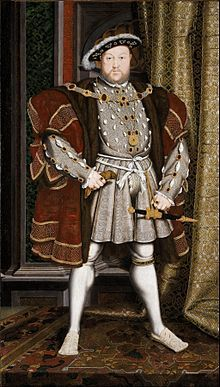 King Henry VIII, son of King Henry VII and Queen Consort Elizabeth Plantagenet of York, and Nephew of Sir Arthur Plantagenet,  Source: Workshop of Hans Holbein the Younger - Portrait of Henry VIII - Google Art Project.jpg