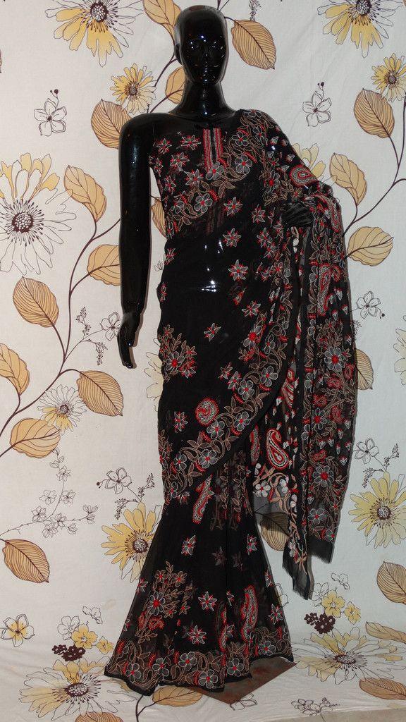 Chikankari Black Georgette Saree - Cotton thread Chikan with all-over heavy work