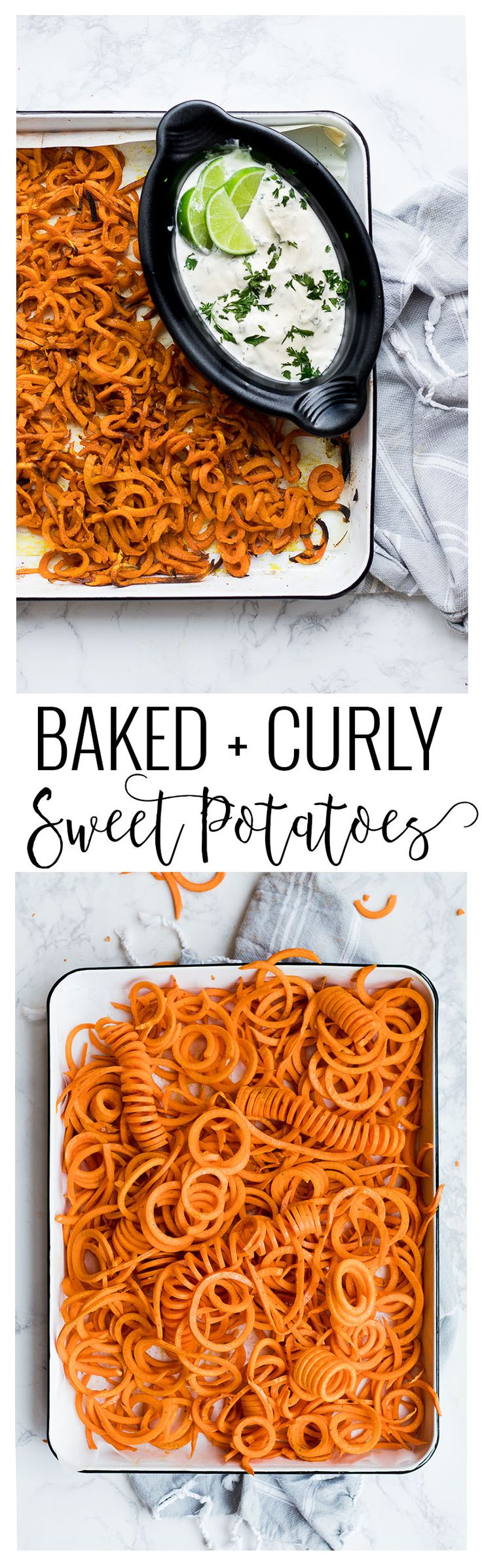 Baked Curly Sweet Potatoes + Cilantro Lime Dip