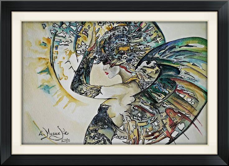 Kobieta w aureoli - Inspirowana obrazem Karola Bąk. Akwarela i tusz, rozmiar A4
