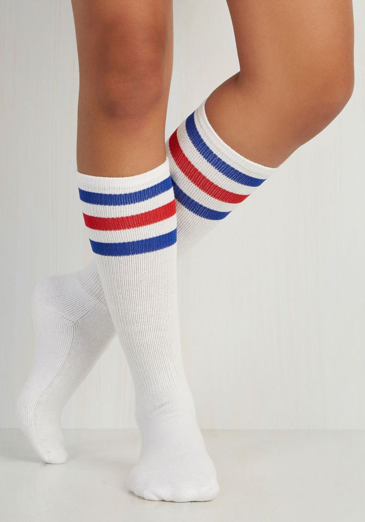 Back On Track Star Socks in Red and Blue. Indulge your sporty spirit with these striped socks! #white #modcloth