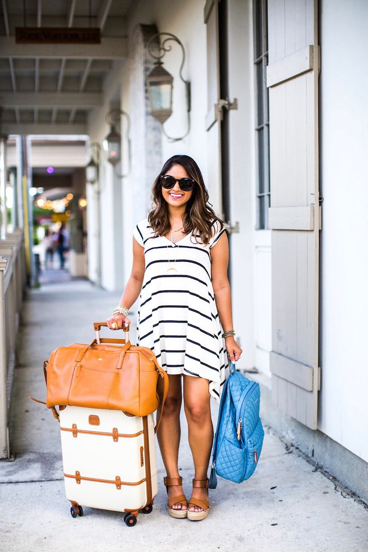 "cute travel luggage, striped dress, bric's 21"" spinner, haute off the rack, MZ Wallace Metro Backpack, leather duffle, travel outfit, travel style, fashion blogger, women's fashion, travel bags, summer outfit, @modcloth"