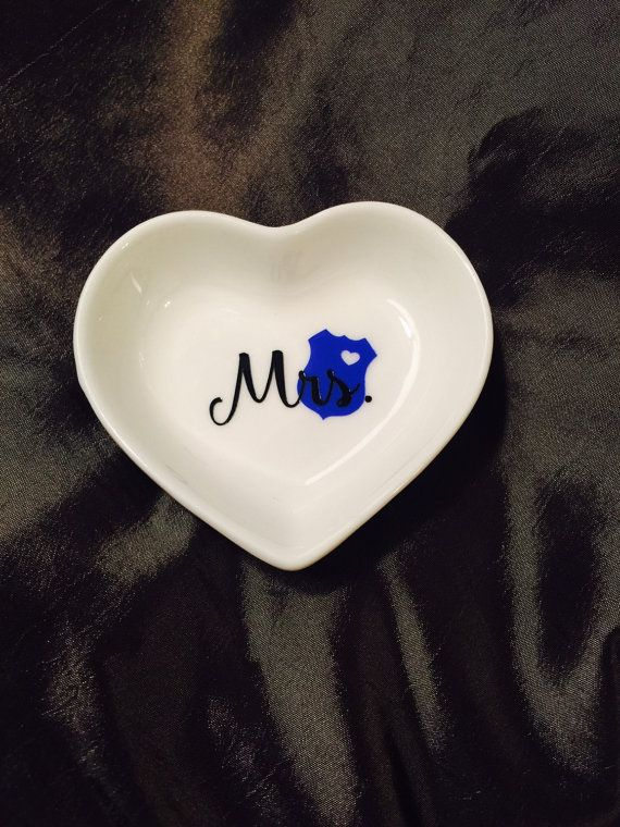 Mrs Police Wife Ring Dish Heart Ring Dish by SweetCharmMonograms