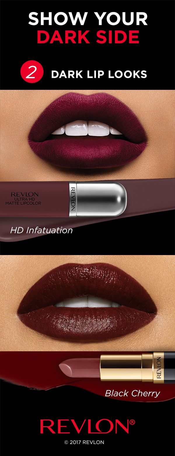It's okay to throw shade—when it comes to dark lipstick, that is. Here are 2 ways to try the dark lip trend:  1. Go matte with Revlon Ultra HD Matte Lipcolor™ in 'HD Infatuation' for a bold berry color and velvety texture.  2. Go classic with the best-selling Revlon Super Lustrous™ Lipstick in 'Black Cherry' for a deep red-brown color and luxurious crème finish.