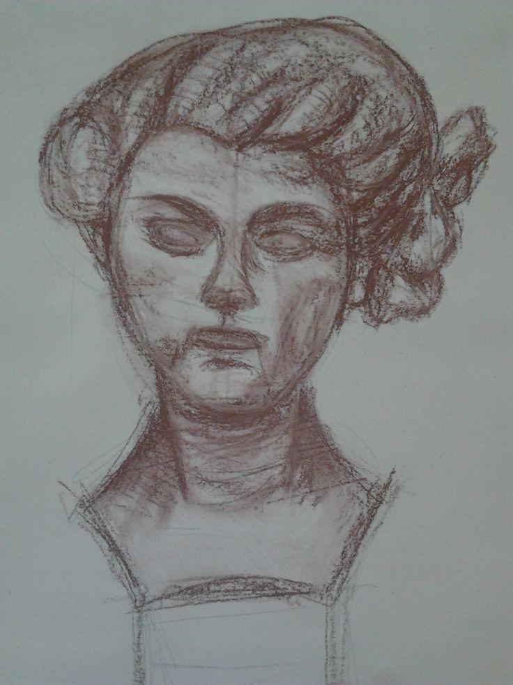 Busta - kresba rudkou